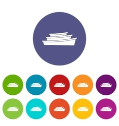 Wooden boat set icons vector image vector image