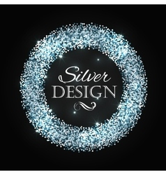 Silver glitter christmas frame with calligraphy vector