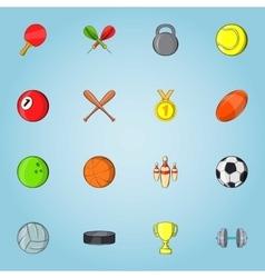 Sports stuff icons set cartoon style vector image