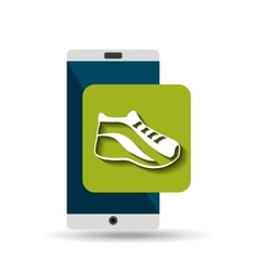 White smartphone run shoe network digital vector