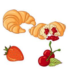 Croissant on white background vector