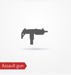 Compact submachine gun silhouette icon vector