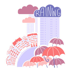 Rain city background with clouds and umbrellas vector
