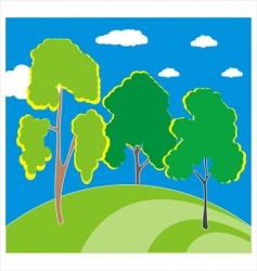 Trees on the hill vector