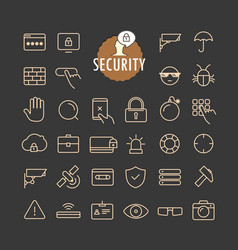 Different security icons collection web and vector