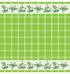 Pattern with grass and flowers vector