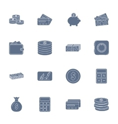 Money and financial silhouettes icons set vector