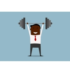 Strong businessman lifting heavy barbell vector