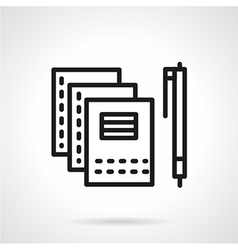 Copybooks and pen black line icon vector