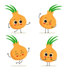 Onion cute vegetable character set isolated on vector