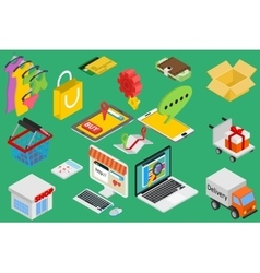 Online shopping - isometric items vector