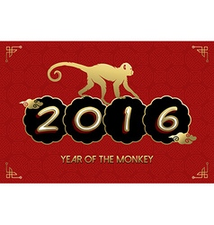 Chinese new year 2016 monkey gold red card vector