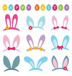 Easter photo booth props set vector image