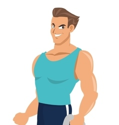 Man with fitness outfit icon vector