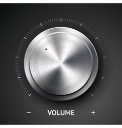 Volume button music knob with metal texture chrome vector