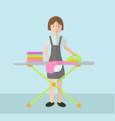 A woman irons clothes ironing board and iron vector