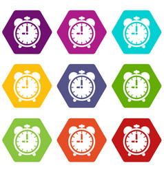 alarm clock icon set color hexahedron vector image