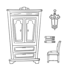 antique furniture set - closet lamp book and vector image vector image