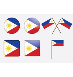 badges with flag of Philippines vector image vector image