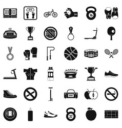 boxing bag icons set simple style vector image