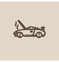 Broken car with open hood sketch icon vector
