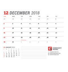 calendar template for 2018 year december business vector image vector image