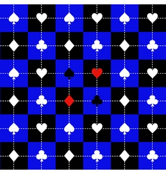 Card suits blue black chess board background vector