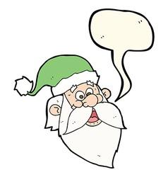 cartoon jolly santa claus face with speech bubble vector image