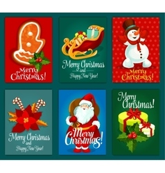 Christmas and new year holidays greeting card set vector