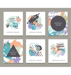Creative hand drawn backgrounds collection vector image vector image