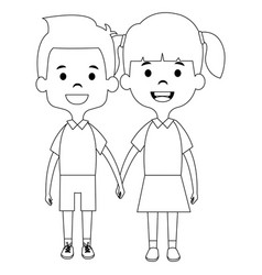 cute and little kids couple vector image