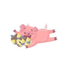 cute pig character lying on the floor and eating vector image