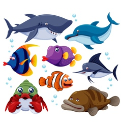 Fish sea set vector