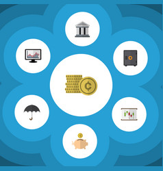 Flat icon finance set of strongbox money box vector