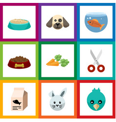 Flat icon pets set of fishbowl shears dog food vector