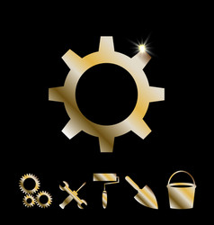 gold gear icon vector image