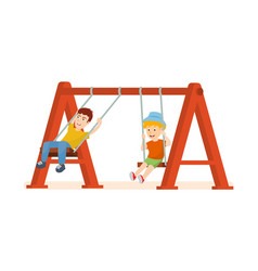 Guys having fun ride on swing an amusement park vector