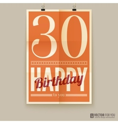Happy birthday poster card thirty years old vector image