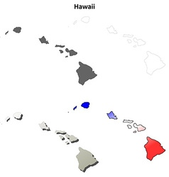 Hawaii outline map set vector image vector image