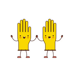 kawaii cartoon pair gloves holding hands in vector image