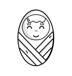 Line cute baby boy with hairstyle in the blanket vector