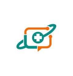 medic cross technology media logo vector image vector image