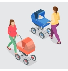 Mother pushing a baby stroller isolated against vector