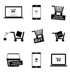 online shopping icon set vector image vector image