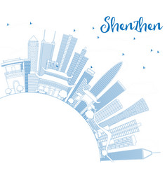 outline shenzhen skyline with blue buildings and vector image vector image