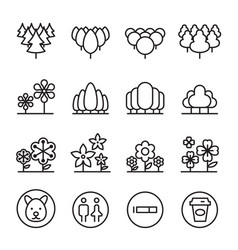 park landscape icon set in thin line style vector image vector image