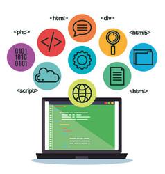 Programming languages set icons vector