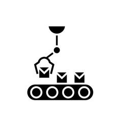 robotic line icon black sign vector image