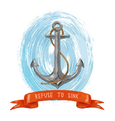 Sea anchor and ribbon vector