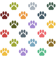 seamless multicolored cat paws pattern vector image vector image
